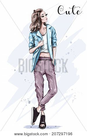Hand drawn fashion model posing. Stylish beautiful woman in jacket. Sketch. Fashion look.