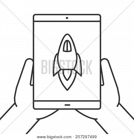 Hands holding tablet computer linear icon. Startup. Thin line illustration. Tablet computer with rocket. Application launching. Contour symbol. Vector isolated outline drawing