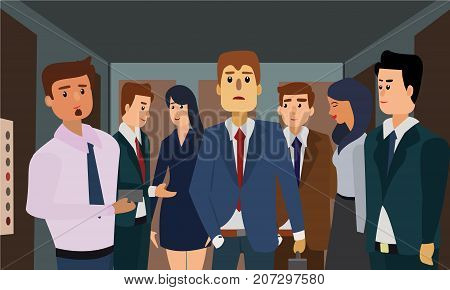 Young man and young woman in a crowded elevator of an office building. Seven business executives travelling in a lift concept illustration vector.