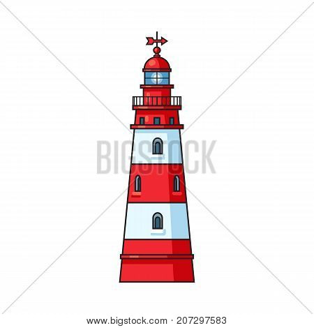 Classic navigational lighthouse, nautical structure, cartoon vector illustration isolated on white background. Cartoon illustration of marine lighthouse, red and white