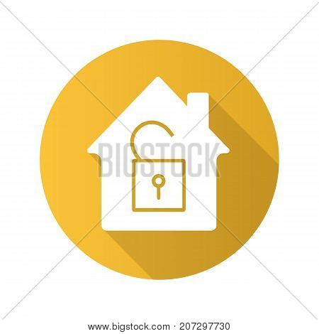Unlocked house flat design long shadow glyph icon. House with open padlock inside. Vector silhouette illustration