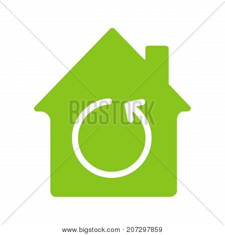 Home renovation glyph color icon. House with reload sign inside. Silhouette symbol on white background. Negative space. Vector illustration