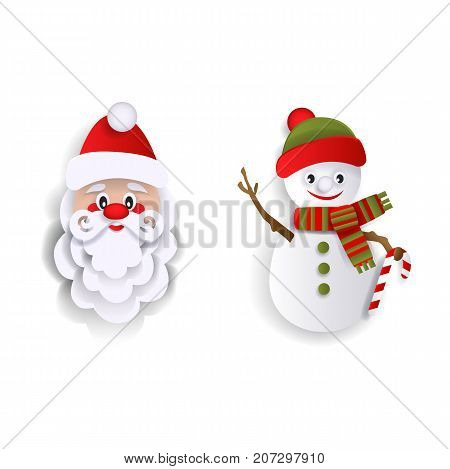Paper cut Santa Claus and snowman, Christmas decoration elements, flat style vector illustration isolated on white background. Flat style Santa Claus and snowman decoration elements