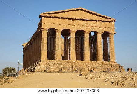 Temple of Concord at Valley of Temples in Agrigento. Sicily