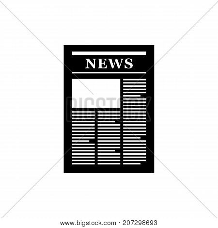 Newspaper icon. Black minimalist icon isolated on white background. Newspaper simple silhouette. Web site page and mobile app design vector element.