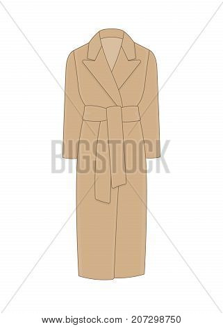 Women's coat robe with a belt. Cashmere and wool. Trendy model of women's wardrobe. Vector illustration