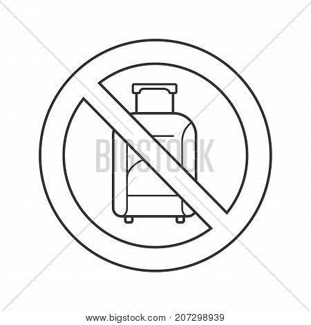 Forbidden sign with luggage linear icon. Thin line illustration. No hand baggage prohibition. Stop contour symbol. Vector isolated outline drawing