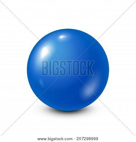 Blue lottery, billiard, pool ball. Snooker. White background. Vector illustration.