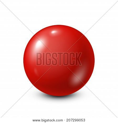 Red lottery, billiard, pool ball. Snooker. White background. Vector illustration.