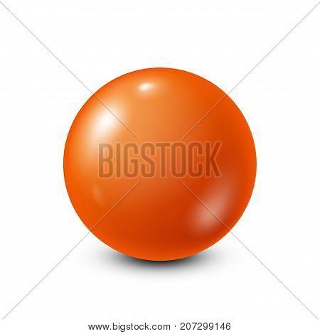 Orange lottery, billiard, pool ball. Snooker. White background. Vector illustration.