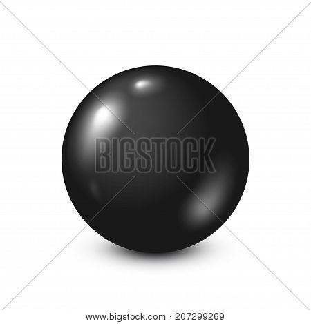 Black lottery, billiard, pool ball. Snooker. White background. Vector illustration.
