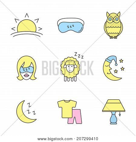 Sleeping accessories color icons set. Sunset, woman with sleeping mask, owl, sheep, moon, pajamas, table lamp. Isolated vector illustrations