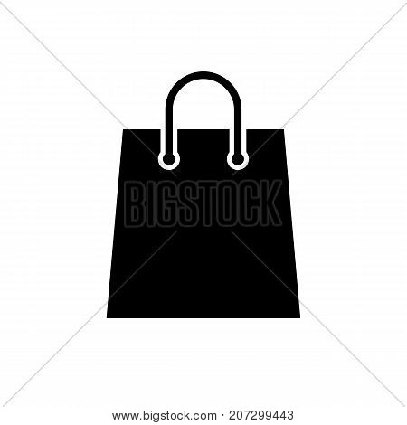 Shopping bag icon. Black minimalist icon isolated on white background. Paper bag simple silhouette. Web site page and mobile app design vector element.