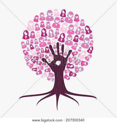 Breast Cancer Awareness Month Pink Help Hand Tree