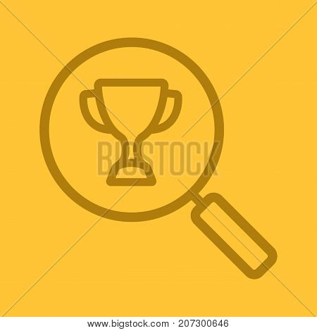 Magnifying glass with sport trophy cup linear icon. Search. Thick line outline symbols on color background. Vector illustration