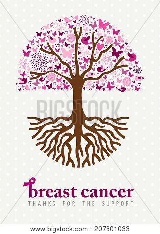Breast Cancer Awareness Month Pink Spring Tree Art