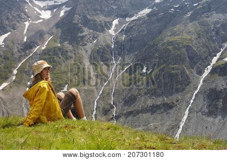 Woman Tourist Mountain Hiking Travel, Young Girl looking away landscape, active outdoor tourism