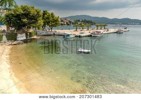 CHALKIDIKI, CENTRAL MACEDONIA, GREECE - AUGUST 25, 2014:  Panoramic view of town of Neos Marmaras at Sithonia peninsula, Chalkidiki, Central Macedonia, Greece