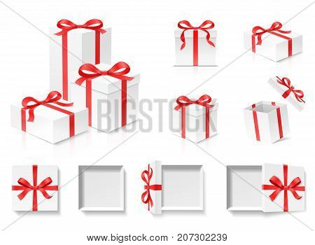Empty open gift box set with red color bow knot and ribbon isolated on white background. Happy birthday, Christmas, New Year, Wedding or Valentine Day package concept. Closeup Vector 3d illustration