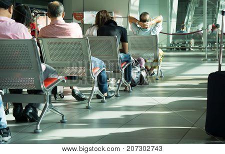Kota Kinabalu, Malaysia - September 06, 2017: Traveler Waiting To Board At The Departure Lounge In K
