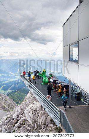 Ramsau Am Dachstein, Austria - August 17: Tourists Walk On Dachstein Sky Walk On August 17, 2017 In