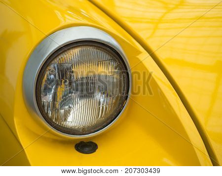 headlight of vintage old retro classic car