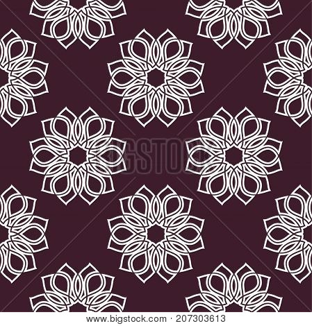 Floral seamless pattern. Maroon background with flower elements for wallpapers and textile