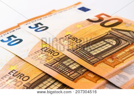 fifty euro banknotes currency. cash money. euro bills.
