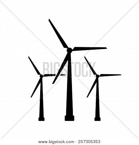 Wind turbine icon. Black minimalist icon isolated on white background. Windmill simple silhouette. Web site page and mobile app design vector element.