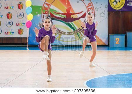 Kamenskoye, Ukraine - March 9, 2017: Championship Of The City Of Kamenskoye In Cheerleading Among So