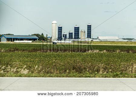 Rural Ontario Farm with Barn Silo storage agriculture animals Canada old farming