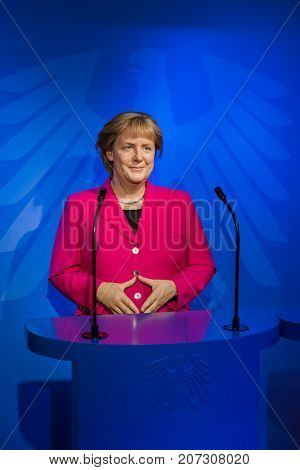 AMSTERDAM, NETHERLANDS - APRIL 25, 2017: Angela Merkel wax statue in Madame Tussauds museum on April 25, 2017 in Amsterdam Netherlands.