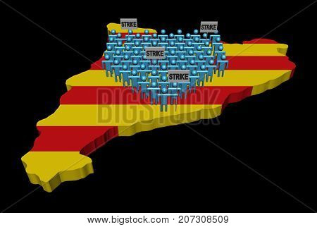 Crowd of people on Catalonia map with strike signs 3d illustration