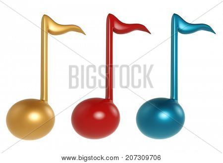 Color music note sign set isolated on white background. 3D illustration.