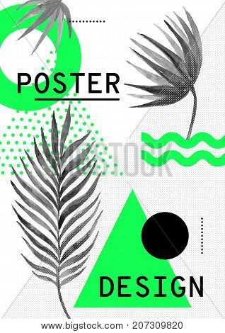 Universal trend pattern juxtaposed with bright bold geometric green leaves foliage elements composition. Poster Background in restrained sustained tempered style. Magazine, leaflet, billboard, sale