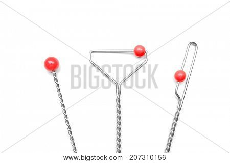 Set of instruments for speech therapist on white background