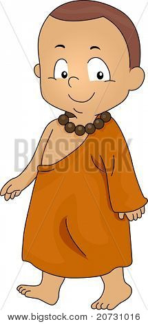 Illustration of a Little Monk Walking