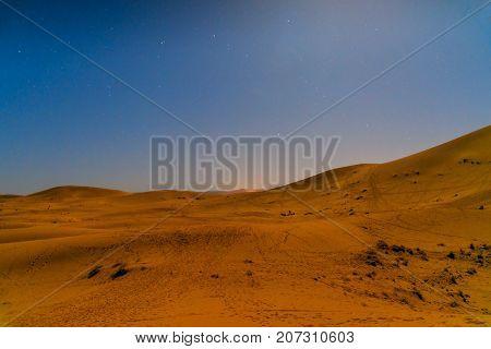 Night In Erg Chebbi Sand Dunes Near Merzouga, Morocco