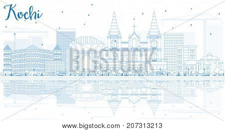Outline Kochi Skyline with Blue Buildings and Reflections. Business Travel and Tourism Concept with Historic Architecture. Image for Presentation Banner Placard and Web Site.
