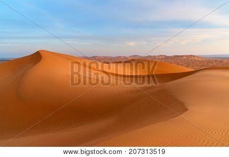 Erg Chebbi Sand Dunes Near Merzouga In The Morning, Morocco