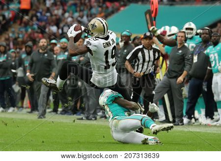 LONDON, ENGLAND - OCTOBER 01 2017: New Orleans Saints wide receiver Ted Ginn (19) during the NFL match between the Miami Dolphins and the New Orleans Saints at Wembley Stadium in London United Kingdom