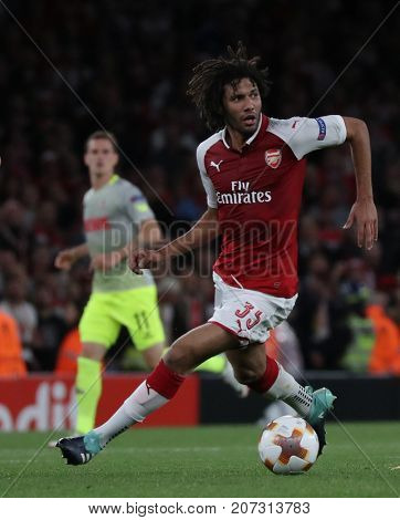 LONDON, ENGLAND - SEPTEMBER 14 2017:  During the UEFA Europa League group H match between Arsenal FC and 1. FC Koeln at Emirates Stadium