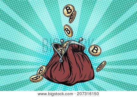Wallet with bitcoin, crypto currency and electronic money. Pop art retro vector illustration