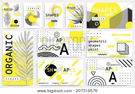 Universal trend pattern set juxtaposed with bright bold geometric leaves foliage yellow elements composition. Background in restrained sustained tempered style. Magazine, leaflet, billboard, sale