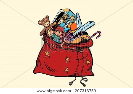Santa sack with Christmas gifts and toys. Pop art retro vector illustration