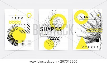 Universal trend posters set juxtaposed with bright bold geometric leaves foliage yellow elements composition. Background in restrained sustained tempered style. Magazine, leaflet, billboard, sale