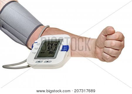 Blood pressure check test monitor exam. Male hand and diagnostic tool isolated. Work path
