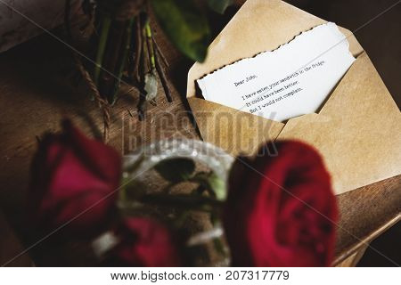 Letter Envelope Note Message with Roses Flower
