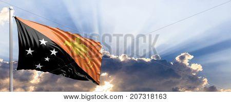 Papua New Guinea waving flag on blue sky. 3d illustration