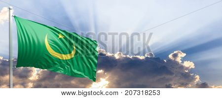 Mauritania waving flag on blue sky. 3d illustration